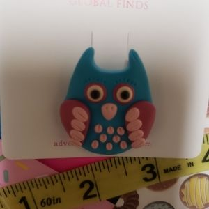 Adorable Blue and Pink Owl Brooch. Handmade. New